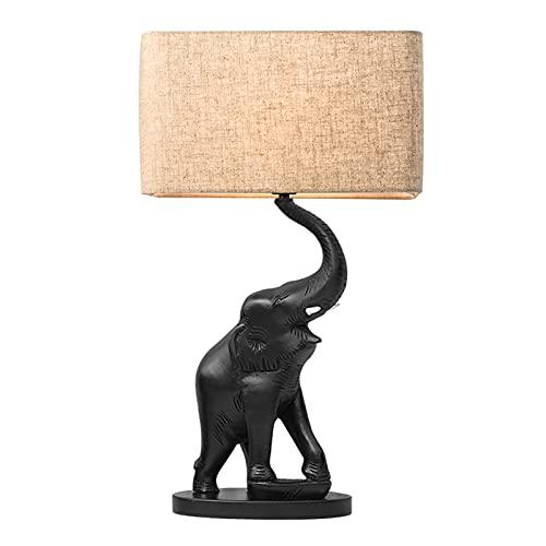 Chenhan Lámpara de Mesa de Resina Elefante Lámparas de Escritorio de la Escultura para Animales con Tonos de Tela para Dormitorio Sala de Estar Hotel Habitación, E27, MAX 40 vatios, Negro