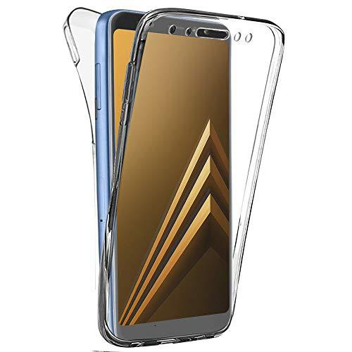 COPHONE Funda compatible con Samsung Galaxy A8 2018 , Transparente Silicona 360°Full Body Fundas para Samsung A8 2018 Carcasa Silicona Funda Case.
