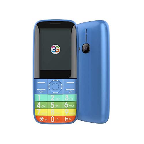 Teléfono móvil 3G con botón grande para personas mayores, teléfono móvil para personas mayores con doble SIM desbloqueado de pantalla grande 2.4, Bluetooth, linterna, altavoz de volumen alto, botón g