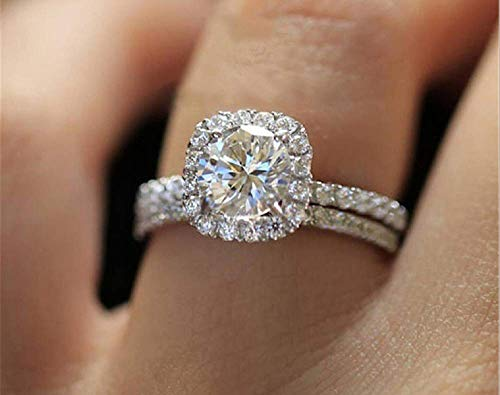 Weishu Fashion Ring Square Cut AAA Cubic Zirconia Engagement Ring 925 Sterling Silver Engagement Wedding Ring Female Ring Commitment Ring Size 6-10 (US Code 8)