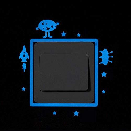 CCYUANG Wandaufkleber Blu-Ray Leuchtende Schalteraufkleber Hauptkarikatur Glänzende Wandaufkleber Glänzende Dekorative Aufkleber Katze Mondsterne