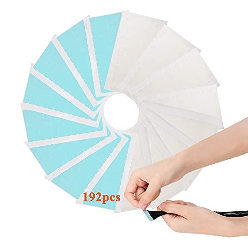 192 Stück Ersatztapes Klebestreifen, Ersatz Tapes für Tape In Hair Extensions Echthaar, Hohe Klebekraft Doppelseitige Klebeband Perückenband für Haarverlängerungen Haareinschlag (4 x 0.8cm, 2 Farben)