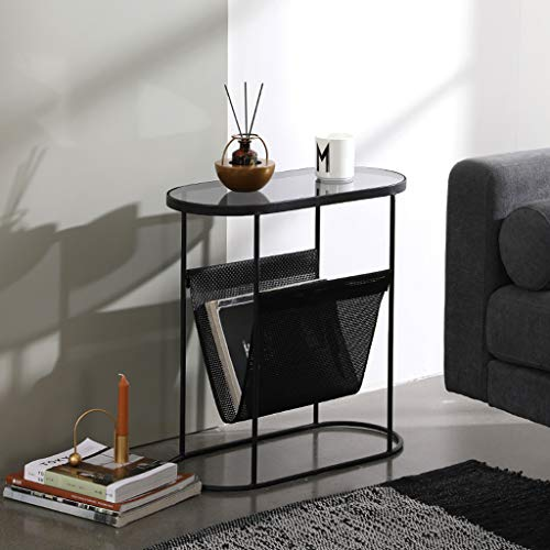 GYX-Coffee Tables Side Table with Rattan Fabric Magazine Holder Sling, End Table for Small Space (53.5x25x55cm), Tempered Glass & Metal Iron Base, (Black)