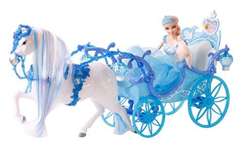 Kutsche blau mit Zauberpferd und Prinzessin