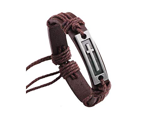 JOYID Fashion Cross Leather Bracelet Alloy Cross Religious Christian Gifts Men Boys Jewelry-Brown