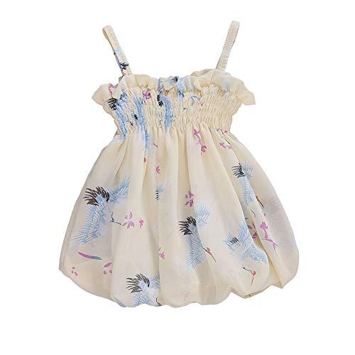 N /A Sommer Baby Mädchen Plissee Welle Krempe Kleid Mode Mädchen gedruckt Hosenträger Kleid (White, 3-6m)