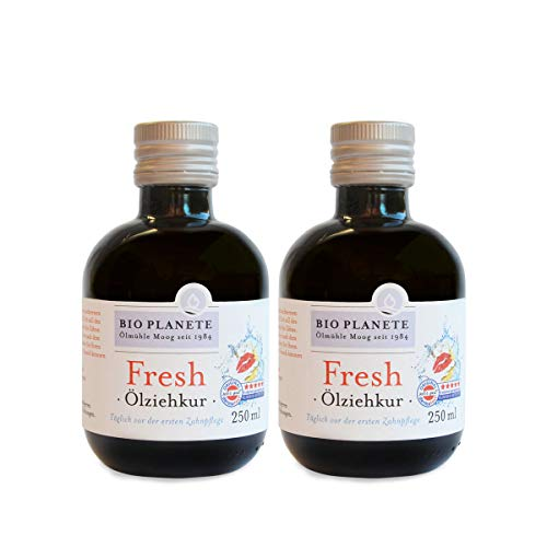BIO PLANETE Ölziehkur Fresh (2 X 250 Ml), Milde Ölzieh-Kur, Bio, Vegan, Fluoridfrei, Naturkosmetik