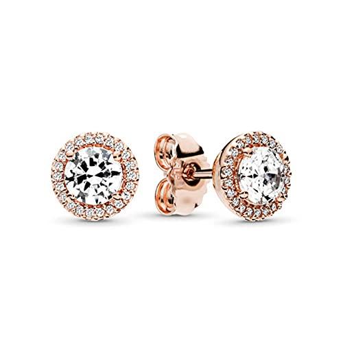 CHENLING Navidad con incrustaciones de diamante lleno facetado cristal piedra pendientes de diamante incrustado oro rosa elegante círculo