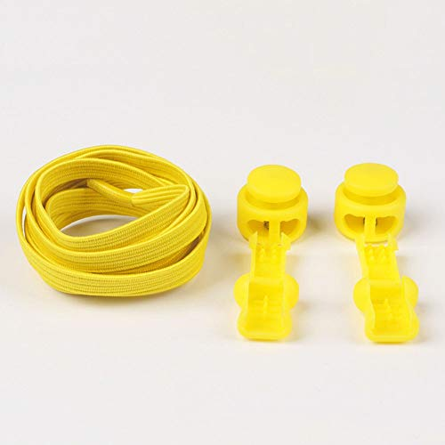 XMCJ No hay Lazada Estiramiento traba el cordón de Zapato Cordones elásticos Zapatilla de Deporte Cordones Shoestrings Correr/Jogging/Triathlon (Color : Light Yellow)