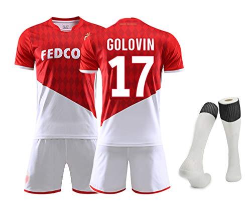 Fußballmannschaft T-Shirt Set, Golovin 17 Falcao 9 Dembélé 10 Fußballuniformen für Männer Erwachsene und Kinder Fußballuniform T-Shirt and Shorts and Socken Alle Größen-No 17-S