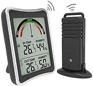 hkwshop Higrómetro para Interior Termómetro al Aire Libre Interior Hygrómetro Medidor de Monitor de Temperatura inalámbric...