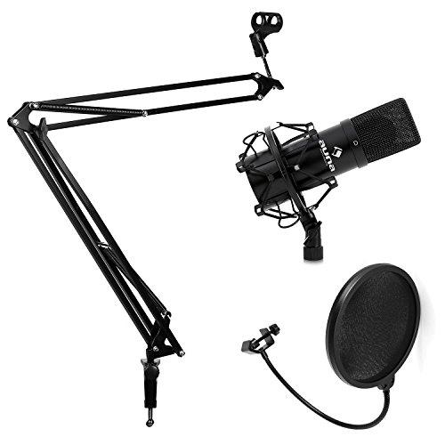 Auna Studio Mikrofon Set mit USB-Kondensator-Mikrofon, Mikrofonarm-Mikrofonstativ & Pop-Schutz (16mm Elektretmikrofonkapsel, inkl. Mikrofonspinne, Tisch-Halterung mit Mikrofonklemme) schwarz