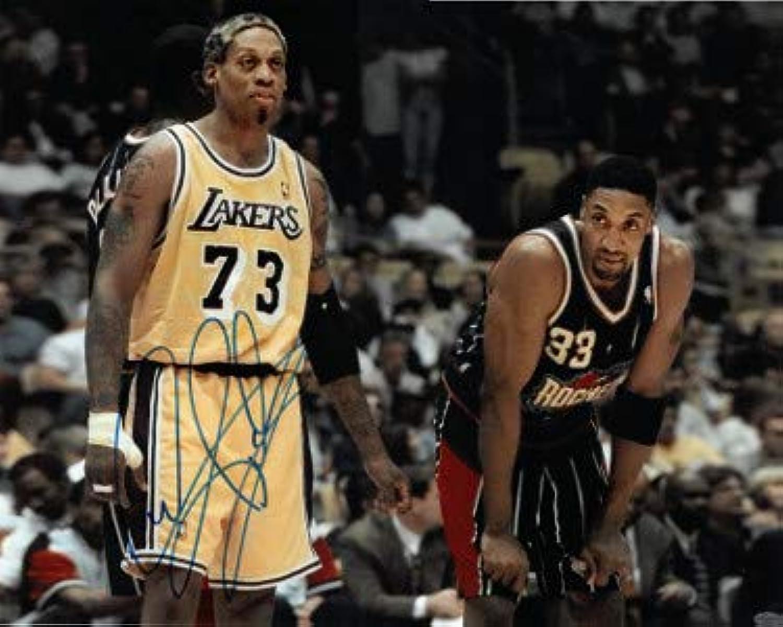Dennis Rodman signed Los Angeles Lakers 16x20 Photo (imperfections) Leaf Authentics Hologram (w Scottie Pippen)