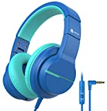Kids Headphones with Microphone for School, iClever HS19 Wired Headphones for Kids with 85/94dB Volume Control, Sharing Function, Boys Girls Headphones for Online Learning/Travel/Tablet, Navy Blue