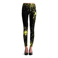 black yellow  leggings