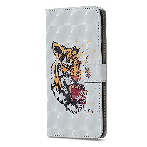 Samsung Galaxy S20 FE Phone Case, 3D Painted Shock-Absorption Flip PU Leather Notebook Wallet Cases Folio Magnetic Protective Cover for Samsung Galaxy S20 FE with Stand Card Holder Slots Tiger