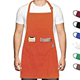esafio Tablier de Cuisine pour Adultes en Coton Polyester avec Ceinture réglable et 2 Grandes Poches pour Chef Cuisinier Jardinage Restaurant Barbecue pour Homme et Femme, Orange