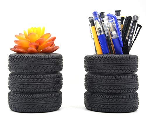 MONMOB Tire Shaped Planter Pen Holder Pencil Holder Home Office Desk Organizer Accessories Succulent Cactus Planter Pot (Pack of 2)