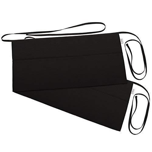 3 Pockets Waist Apron (Pack of 2) - Waitress apron, Kitchen apron, Black apron - by Rmeny (Black)