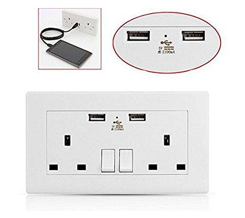 KAZOKU Conector USB de doble pared de 13 amperios para enchufe del Reino Unido, 2 puertos de alimentación