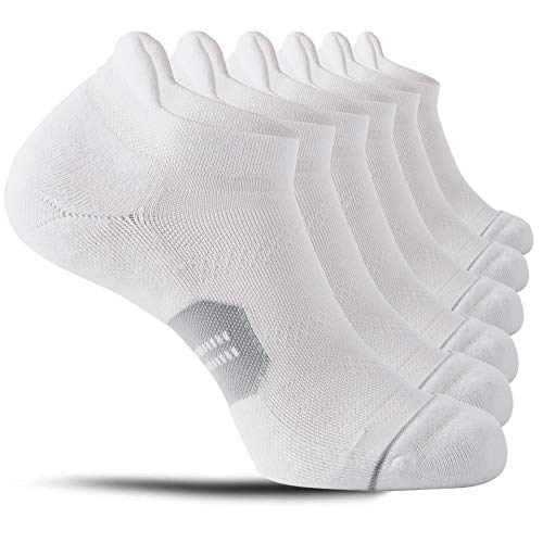 CelerSport 6 Pack Running Ankle Socks for Men and Women with Cushion, Low Cut Athletic Sport Tab Socks, White + Grey, X-Large