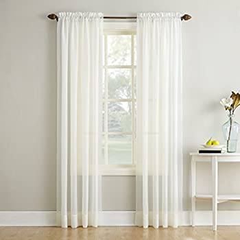No. 918 Erica Crushed Texture Sheer Voile Rod Pocket Curtain Panel