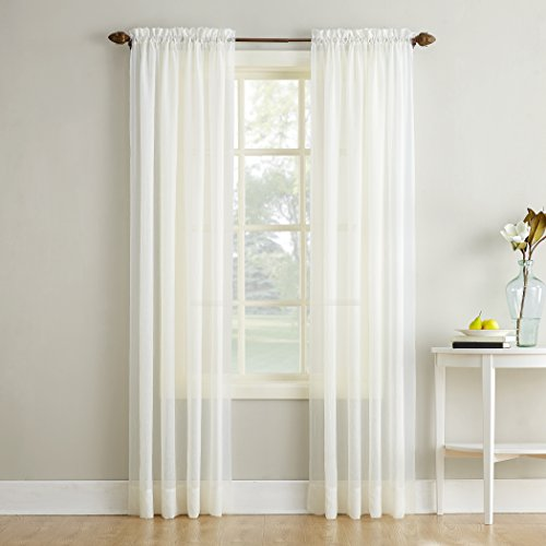 """No. 918 Erica Crushed Texture Sheer Voile Rod Pocket Curtain Panel, 51"""" x 84"""", Eggshell Off-White"""