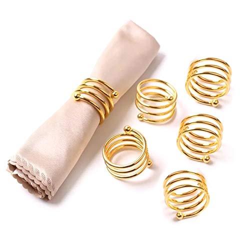 Gwotfy 6 Stück Serviettenringe Set, Abendessen Serviette Schnallenhalter, handgemachte natürliche Metallschmuck, Halter für Hochzeitsfeier Dinner Tischdekoration, Golden Spring Ring Form