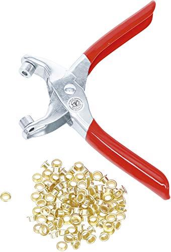 Kraftmann 75830 | Alicate perforador para ojales con 100 ojales redondos | 4,5 mm