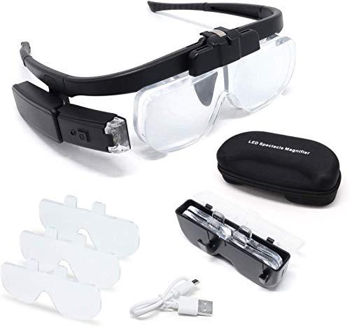 Lupenbrille mit Licht Hände Frei Kopfband Lupe Lampe Headset Kopflupe Stirnlupe Brillenlupe mit 2 LED Licht inkl. 3 Wechselobjektive 1.5X, 2.0X, 2.5X für Hobby Reparatur Handwerk Nähen