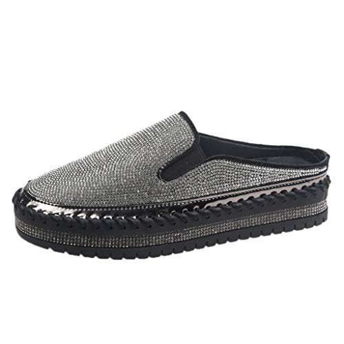 Espadrilles Damen Slip On Sneaker Plateau Strass Slipper mit Glitzer-Optik, Frauen Mokassins Loafer Freizeitschuhe Low Top Flache Schuhe Schöner Damenschuhe Celucke (Schwarz, 35EU)