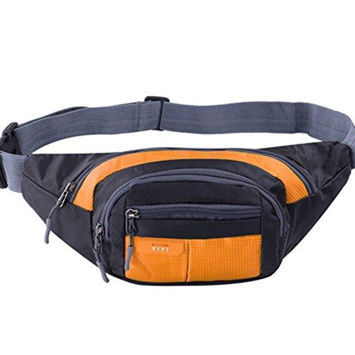 Black Temptation Outdoor Sports Sacs de Taille multifonctionnels pour la Course,la randonnée,Le Cyclisme,Le Camping, Orange 35x15cm