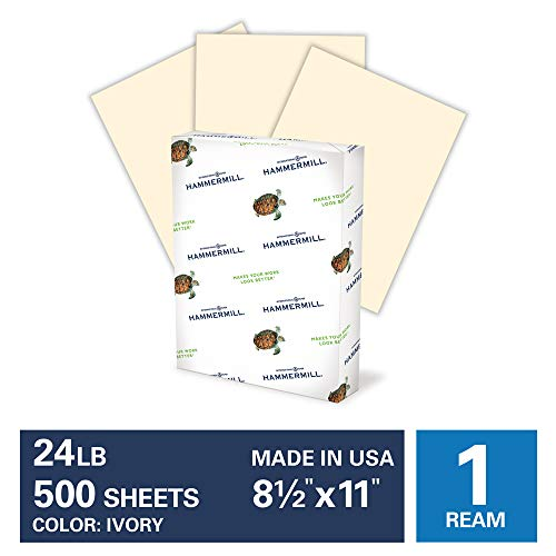 Hammermill Ivory Colored 24lb Copy Paper, 8.5x11, 1 Ream, 500 Total Sheets, Made in USA, Sustainably Sourced From American Family Tree Farms, Acid Free, Pastel Printer Paper, 104406R