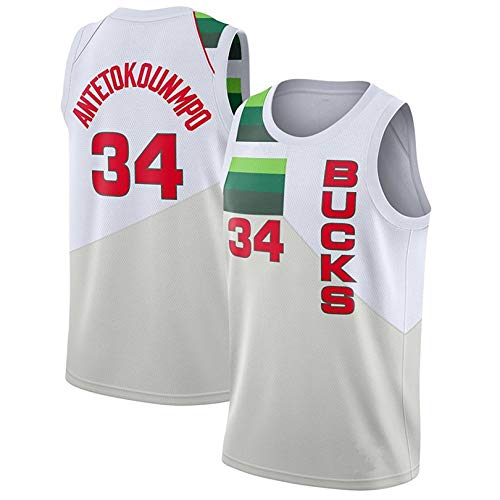 YENDZ Camiseta de Baloncesto para Hombre, Bucks No. 34 Antetokounmpo, Sudadera Transpirable para fanáticos M Rewardwhite