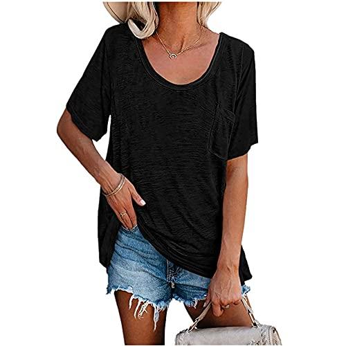 Camiseta de manga corta de verano camiseta suelta superior de moda camiseta superior Camiseta de mujer camiseta de manga corta camiseta de color sólido dobladillo largo casual verano básico to