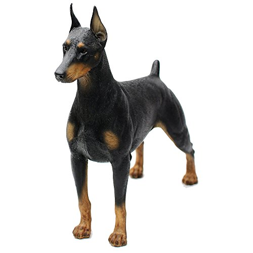 """Comfy Hour Doggyland Collection, Miniature Dog Collectibles 7"""" Standing Dobermann Figurine, Realistic Lifelike Animal Statue Home Decoration, Black, Polyresin"""