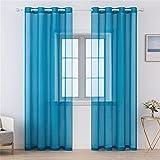 JUELE 2 cortinas de gasa traslúcidas de gasa perforadas para dormitorio, salón, habitación infantil, color azul, 140 x 260 cm