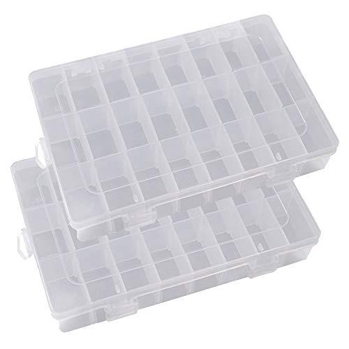 Sortierbox, Tragbare 24 Raster Klar Harte Kunststoff Verstellbare Schmuck Organizer Box Container Aufbewahrungskoffer mit Abnehmbaren Trennwänden für Maniküre Zubehör, Loom Gummis