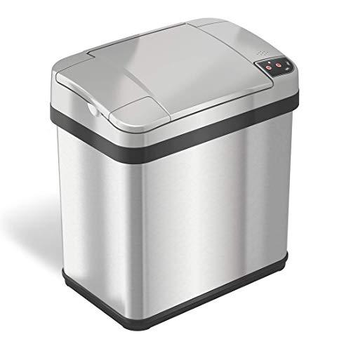 iTouchless Cubo de Basura con Filtro de Olor AbsorbX y Fragancia, Cubo de Basura automático sin Tacto, Perfecto para baño y Oficina, Sensor de Acero Inoxidable, 2.5 galones