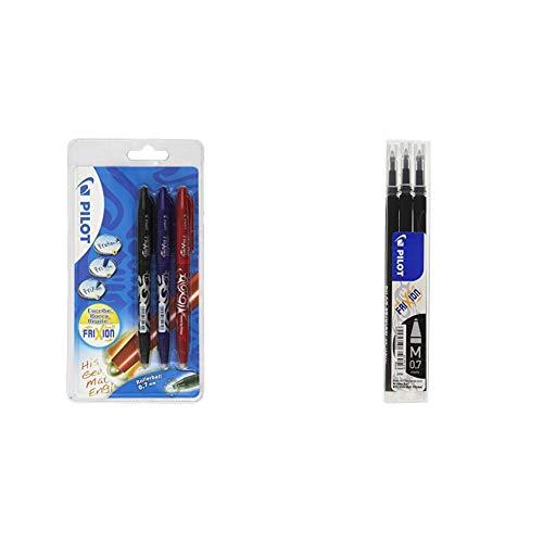 Pilot - Set 3 bolígrafos, color negro, azul y rojo, multicolor, medio + BLS-FR7-B-S3 - Recambio Frixion, color negro, medio