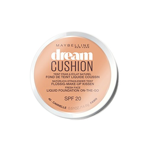 Maybelline Dream Cushion Make-up Nr. 40 Cannelle, flüssige Foundation in einem Make-up-Kissen, für einen morgenfrischen Teint, mit Spiegel, feuchtigkeitsspendend, 14,6 g