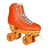 WALLhang KaO0YaN, Quad Skates Patines Patinaje, Patines de Doble Fila de Cuero PU, Patines de Velocidad Profesional para Mujer, Frenos Ajustables-Naranja_43