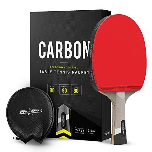 PRO SPIN Tischtennisschläger Carbon | 7-lagiges Schlägerblatt, Offensiv-Gummi, 2,0-mm-Polster, Hochwertige Schutzhülle | Verbessern Sie Ihr Spiel mit dem Elite Series Carbon Pro Tischtennis Schläger