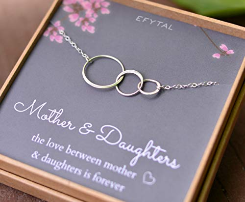 Mom 2 Daughters Necklace, Sterling Silver Three 3 Interlocking Infinity Triple Circles, Mothers Day Jewelry Gift