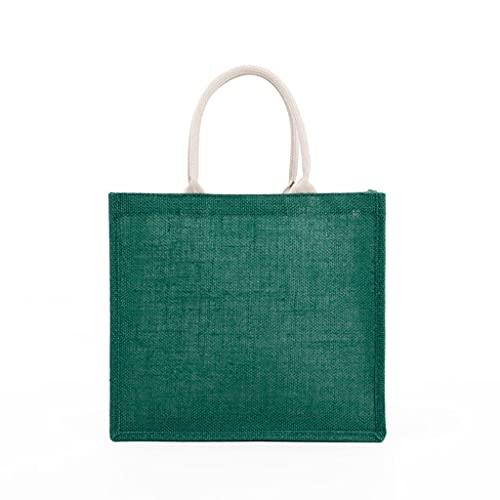 ZZALLL Bolso de Mano de arpillera para Mujer de Moda Bolsos de Embrague en Blanco Bolso de Compras con asa Superior Informal de Gran Capacidad para Bordado de Bricolaje - Verde