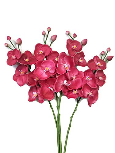 Floral Kingdom Real Touch Latex Single Stem Orchid Branch for Floral Arrangements, bouquts, Office/Home Decor (Pack of 2) (Fuchsia Pink)