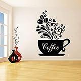 Tasse Kaffee Wandaufkleber für Interior Design Küche Vinyl Wasserdichte Aufkleber Cafe Restaurant...
