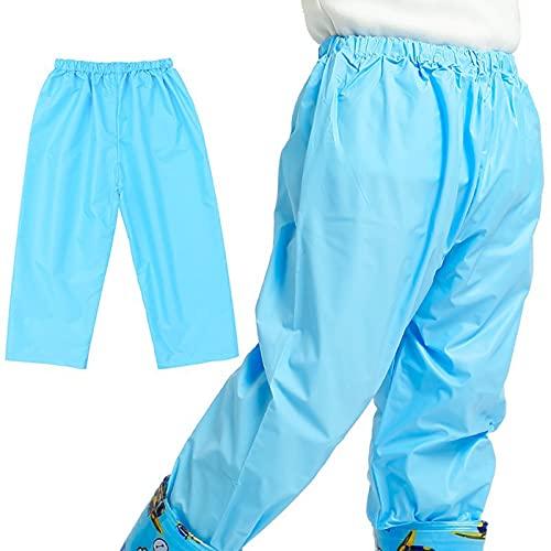 Kinder Regenhose, Wasserdicht Regenhose Kinder, atmungsaktiv regenbekleidung für Mädchen und Jungen (Blau,XL)
