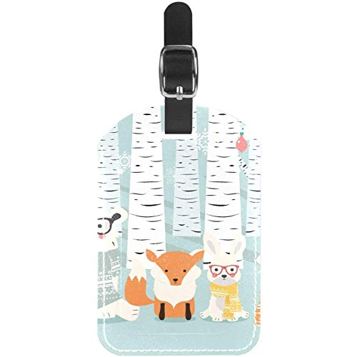 Etiquetas de Equipaje de Invierno con diseño de Animales del Bosque de...