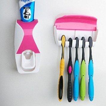 Ndier Zahnpasta-Spender, freihändig, 2 Farben, zur Wandmontage, Zahnbürstenhalter-Set, 5 Bürsten zum Aufhängen, einfache Installation und kein Chaos mehr